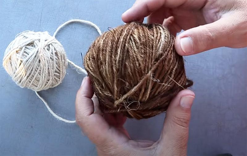 Джутовая нить используется в качестве материала для декора
