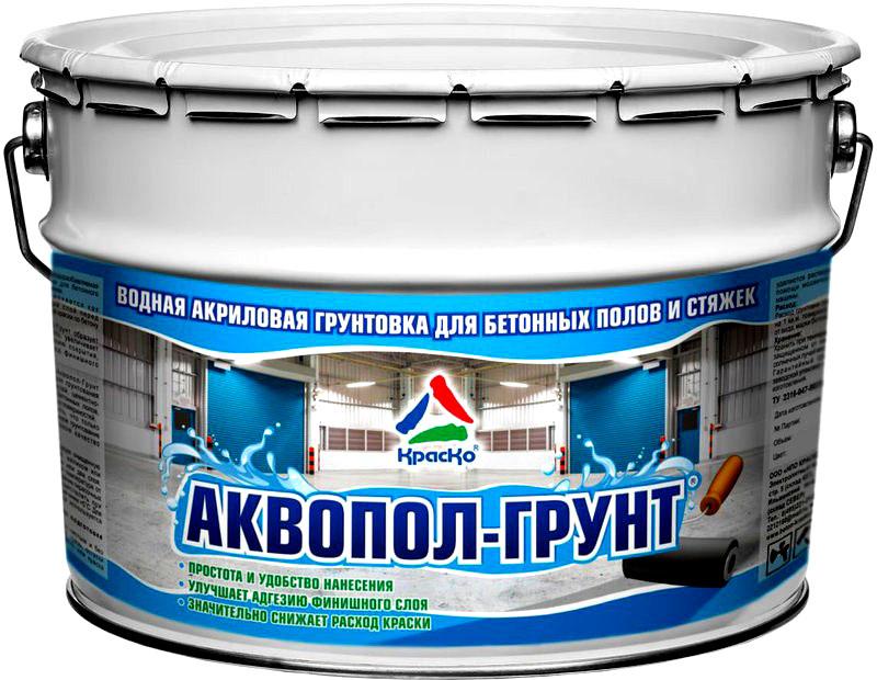Примеры таких красок: «КрасКо Аквапол» для помещений и «КрасКо Тексипол» для объектов с высокой механической нагрузкой на полы