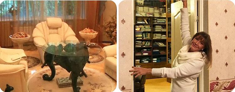 Гостиную украшают шикарные цветочные композиции, размещённые в стильных высоких вазах