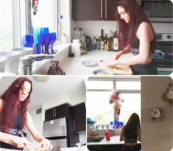 Евгения украсила холодный интерьер кухни поделками ручной работы