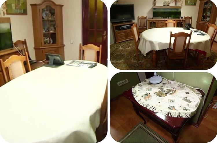 Мебель для гостиной изготовлена из массива дуба и покрыта матовым лаком