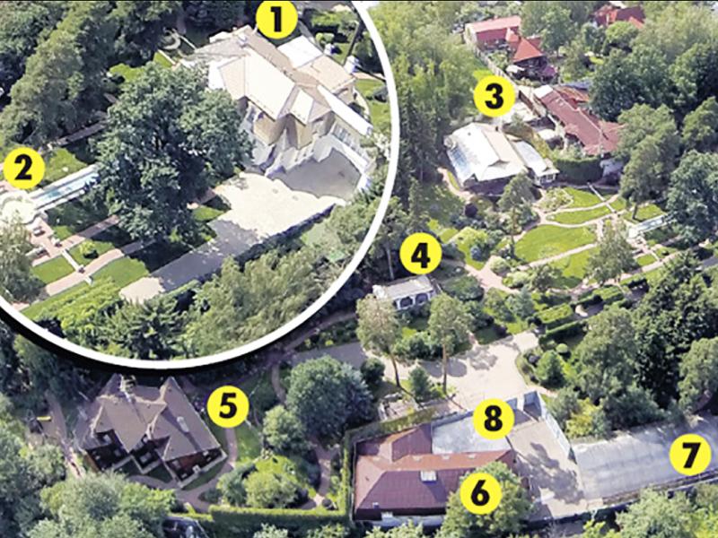 На участке расположены: 1 – основной дом, 2 – фонтан, 3 – бассейн, 4 – открытая беседка, 5 –коттедж для гостей, 6 – дом для охраны, 7–8 – парковка и гараж