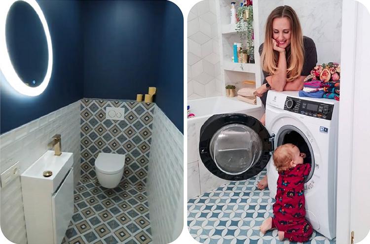 В ванной комнате напротив умывальника поставили большую стиральную машину с фронтальной загрузкой