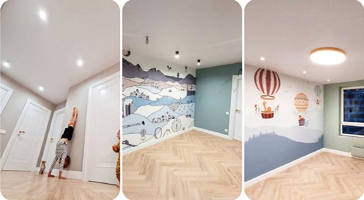 На потолках в каждой комнате установили точечную подсветку по периметру и повесили центральные светодиодные люстры