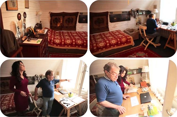 Скромный интерьер спальни и рабочего кабинета Александра Адабашьяна