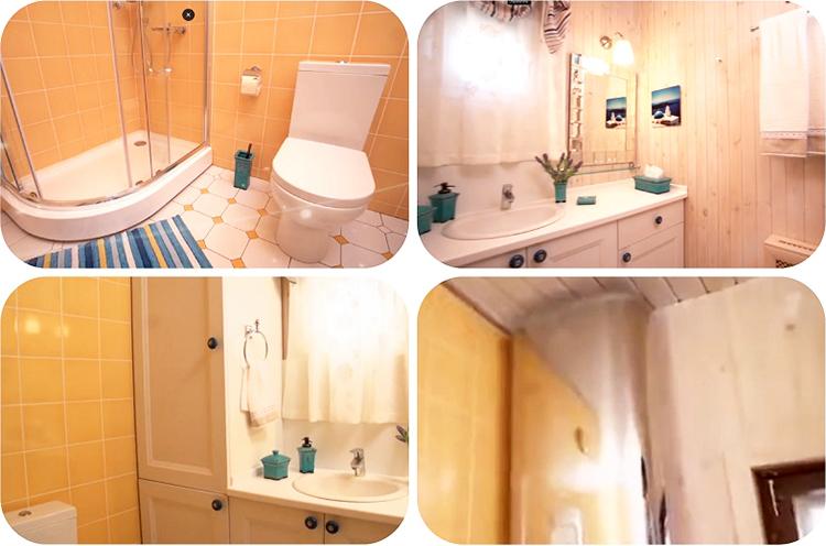 Мокрые зоны в ванной комнате облицевали кафелем сочного жёлтого цвета