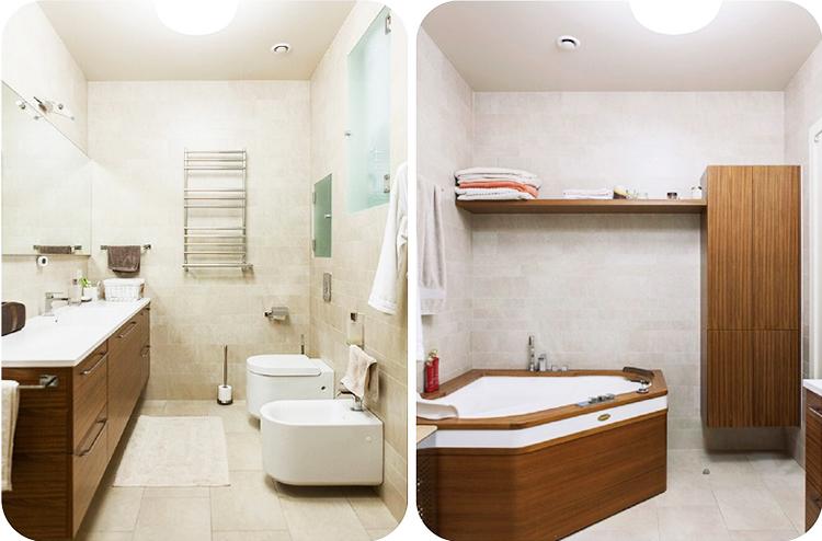 Освещают ванную комнату подвесная люстра в виде шара из матового стекла и точечная подсветка по периметру